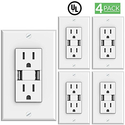 Sunco Lighting 4 Pack 3 1 Amp High Speed Dual Usb Charger   15 Amp Duplex Outlet  White  5 Volt Dc  Wall Plate Included  2 Charge Ports  Tamper Resistant  Tablet Phone Charging Receptacle   Ul Listed