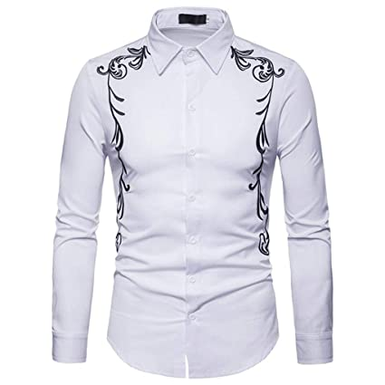 9ef5c0245 Amazon.com: Clearance 2018 Shirts for Men, Jiayit Mens Hipster Casual Slim  Fit Long Sleeve Button Down Dress Shirts Tops with Embroidery (M, White):  Home ...