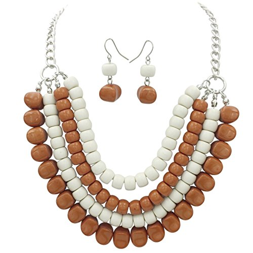 4 Row Layered Bib Bubble Statement Silver Tone Necklace & Earrings Set (Burnt Orange & White)