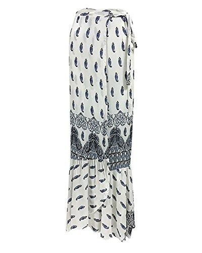 Tomwell Split Été Asymétrique Haute Plage Floral Imprimé Bohême Femmes Taille Jupe Blanc Longue Maxi Élégant De Party EqrE45w