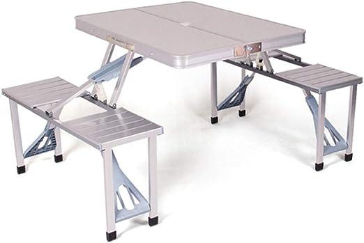 YHNJI - Banco plegable para picnic, camping, jardín, fiesta, mesa y silla de aleación de aluminio para exteriores, plata: Amazon.es: Jardín