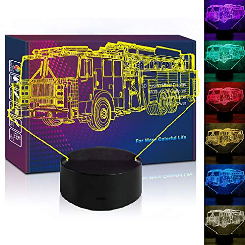 Fire Fighting Truck LED 3D Illusion USB Night Light 7 Color Optical Fire Engine Lamp Birthday Gift for Little Boy Boyfriend Men Firemen Soldier Trackman Bedroom Room Decor(fire Truck)