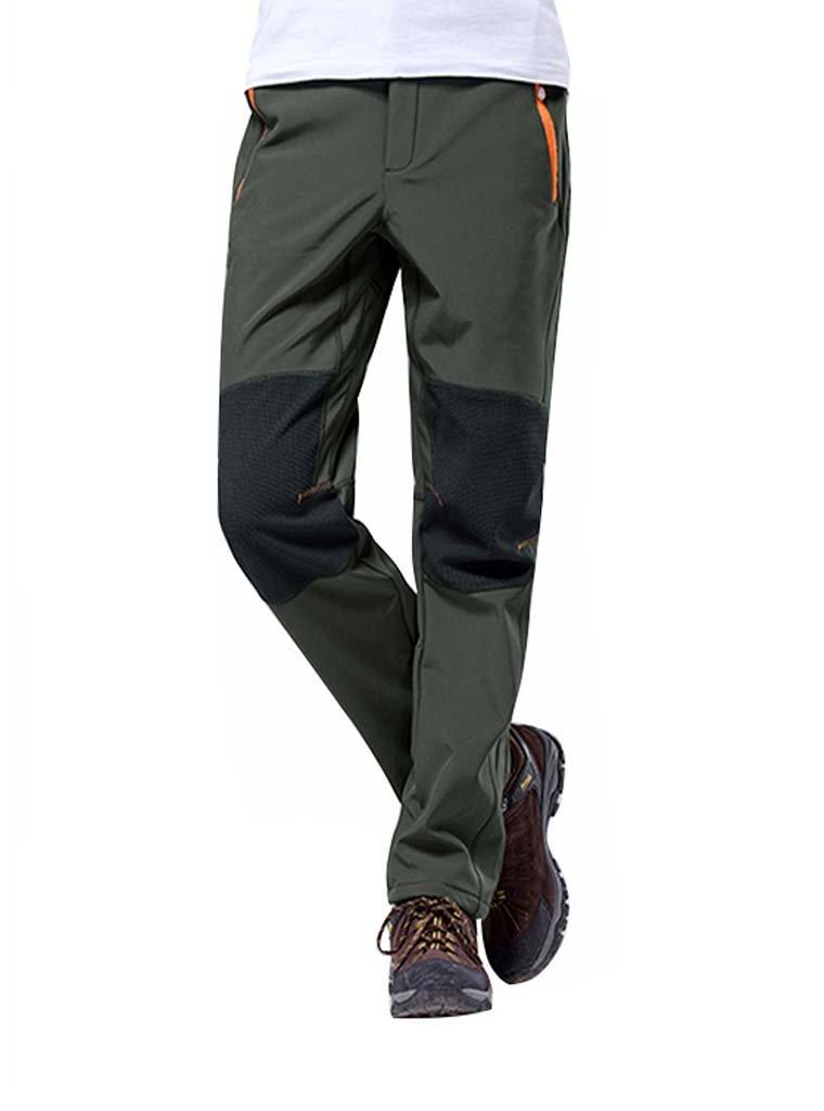 LASIUMIAT Men\'s Autumn Winter Fleece Lined Windproof Hiking Mountain Pants with Belt LAS-36