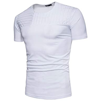 6bea2016bbd8d T-Shirt à Manches Courtes Homme Chemisier à Rayures Horizontales Tops Ete  2019