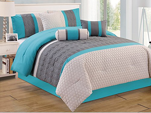 Modern 7 Piece Bedding Blue / Grey Embossed King Comforter Set With Accent Pillows Home Garden