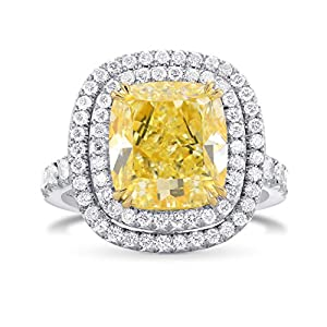 5.9Cts Yellow Diamond Engagement Halo Ring Set in Platinum GIA Certificate Size 6