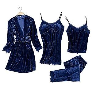 JULY'S SONG Donna Indumenti Camicie da Notte 4 Pezzi in Raso Elegante Sexy Estivo Pigiama Sleepwear Indumenti da Notte con Pizzo Canotta Pantaloni Lunghi Set