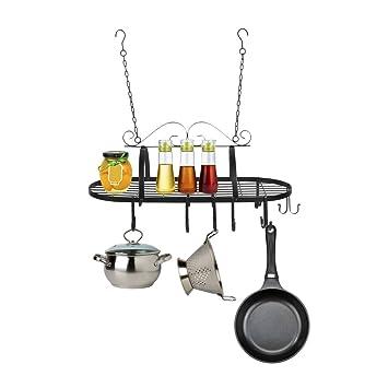 homgrace colgante ovalado (hierro, 10 ganchos de cocina Cacerola de cocina organizador de percha: Amazon.es: Hogar