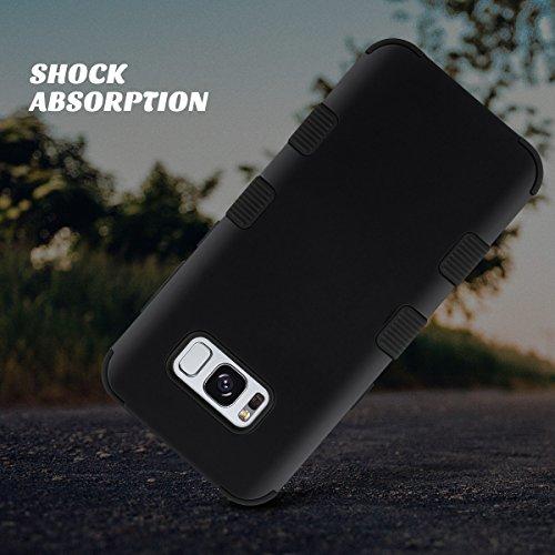 Galaxy S8 Plus Caso, ULAK S8 Plus Funda Carcasa Silicona Shockproof Case Lujo 3in1 híbrido Impact antideslizante cubierta protectora dura para Samsung Galaxy S8 Plus (Oro rosa) negro