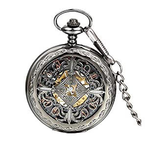 Avaner Retro Steampunk Black Chinese Knot Antique Skeleton Hollow Half Hunter Case Hand Winding Mechanical Pocket Watch with Chain