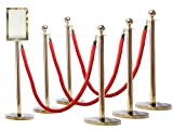 Rope Stanchion, 6 Gold Posts + 4 Ropes + Rope Signframe,