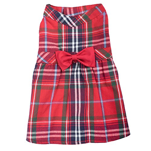 Red Plaid Dress, Red Multi, M