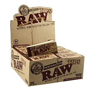 Raw Rolling Papers Perforated Wide Cotton Filter Tips 10 Pack = 500 Tips by RAW
