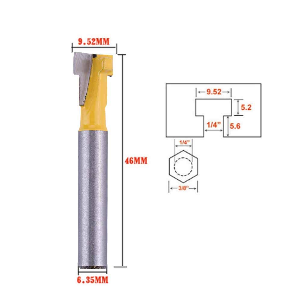 #1 Jadpes Wood Milling Cutter,Keyhole Photo Frame Hanging Hole T-Slot Slotting Router Bit Woodworking Cutting Tool