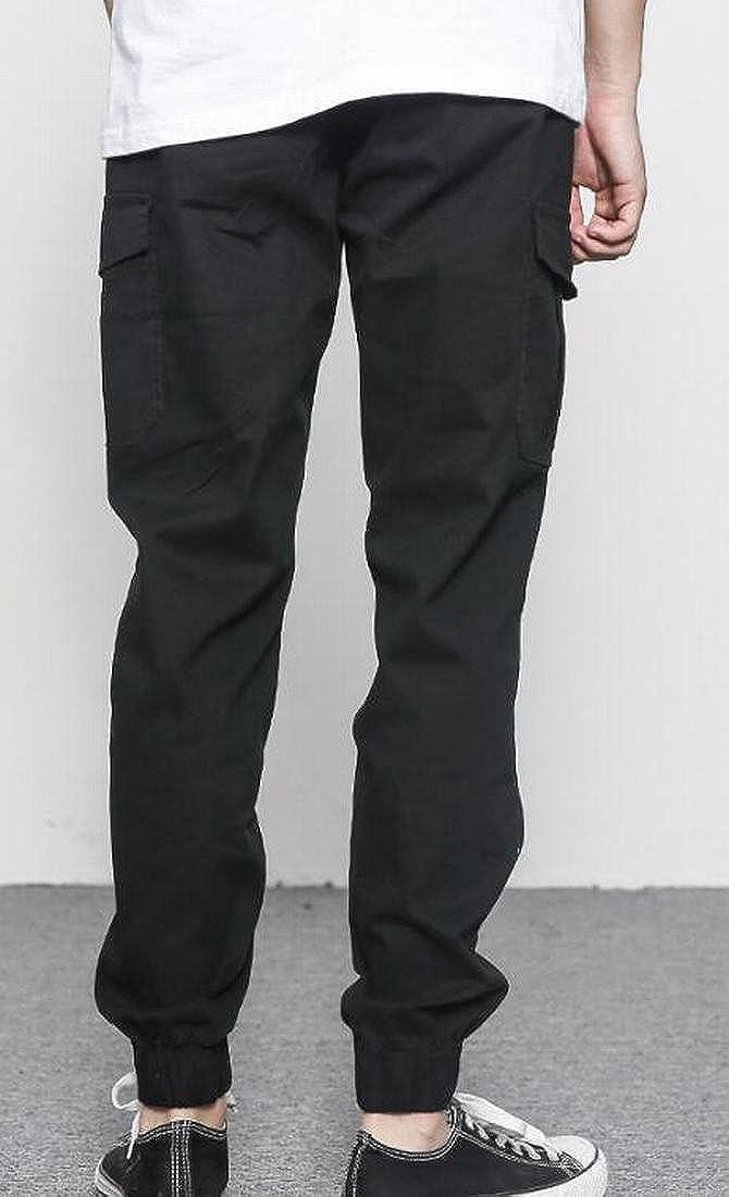 SELX Men Slim Fit Straight Leg Outdoor Multi-Pockets Cargo Pants
