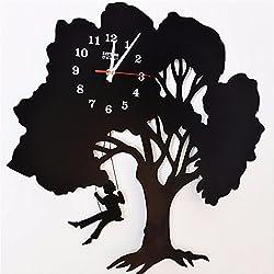Iron Trees Trees Clocks Girls Swing Swing Silhouettes Clocks Clocks 50 46CM