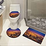 City custom made Cape Town Panorama at Dawn South Africa Coastline Roads Architecture Twilight 3 Piece Bath mat set Marigold Blue Pink