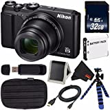 Nikon COOLPIX A900 Digital Camera (Black) 26501 International Model + EN-EL12 Replacement Lithium Ion Battery + 32GB SDHC Class 10 Memory Card + Flexible Tripod with Gripping Rubber Legs Bundle