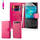 32nd® Book wallet PU leather flip case cover for BlackBerry Classic Q20 - Hot Pink
