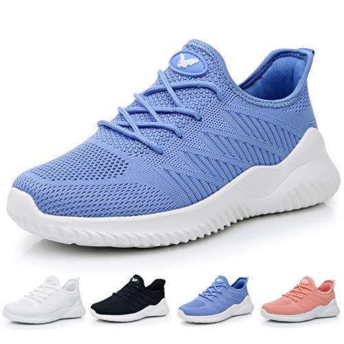 JARLIF Women's Memory Foam Slip On Walking Tennis Shoes Lightweight Gym Jogging Sports Athletic Running Sneakers Blue 8 B(M) US