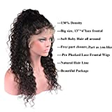 Perstar Lace Front wigs human hair with baby Hair Brazilian Water Wave Wet and Wavy human hair wigs for black Women(18'' Front Wigs, Natural Color)