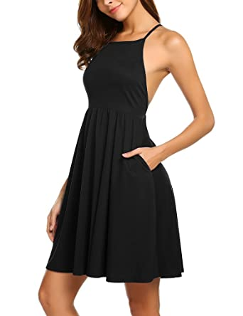 Review Women's A-Line Swing Dress Halter Neck Sleeveless Sexy Backless Party Mini Dresses with Pocket