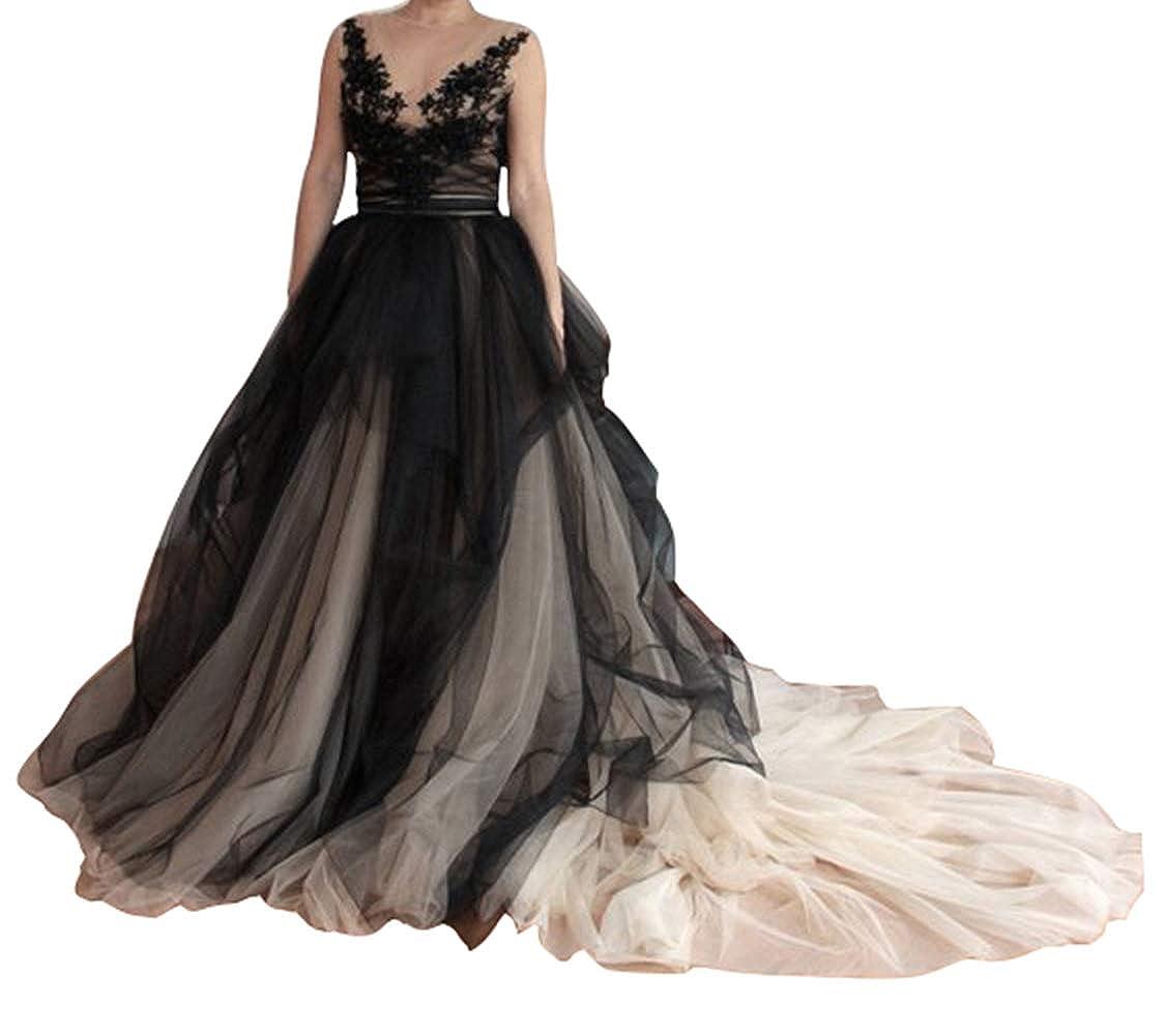 Flowerry Detachable Wedding Bridal Train Skirt Ruffle Long Train Tutu Tulle Skirt (M, Blackcham)