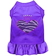 Mirage Pet Products 57-58 MDPR Purple Zebra Heart Rhinestone Dress, Medium