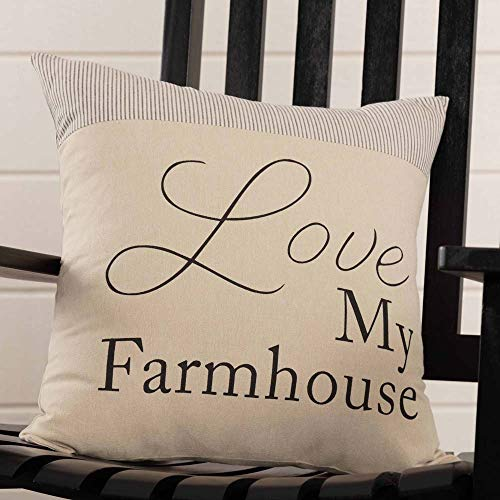 Piper Classics Love My Farmhouse Throw Pillow Cover, 18 x 18, Farmhouse Style, Ticking Stripe Accent Pillow with Printed Words