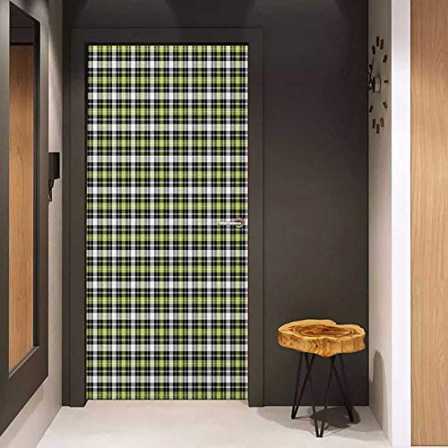 Onefzc Door Wallpaper Murals Plaid Classical and Geometric in Green and Black Tones Graphic Tile Pattern WallStickers W38.5 x H79 Olive Green Black Grey