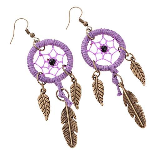 Dreamcatcher Feather Earrings (MonkeyJack Women Tibetan Gold Bohemia Dream Catcher Dangle Feather Dangle Earrings Jewelry - Purple)