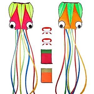 2 Piezas Cometas de Pulpo Grandes Cometa Volador con Cola Larga Portátil Hermoso Colorido con Mango y 197 Pies de Hilo