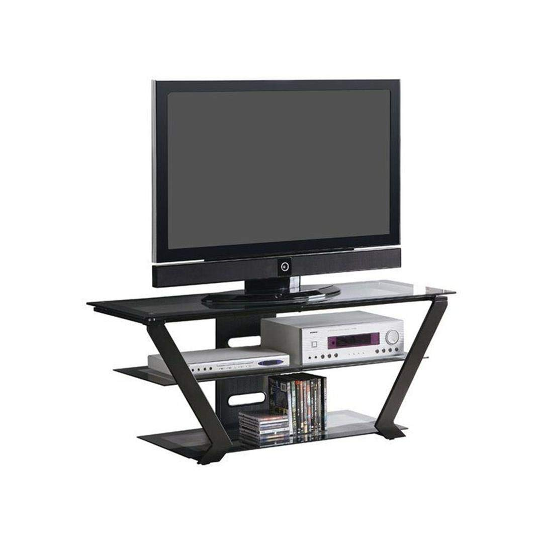 Coaster Home Furnishings TV Console with 2 Tiers of Graduated Storage Shelves Black