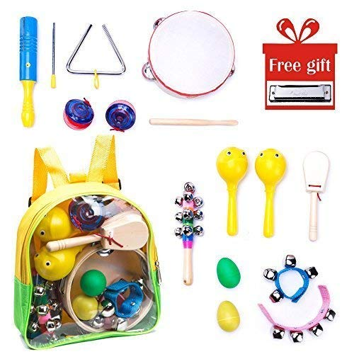- Musical Instrument Montessori Set for Children: Girls and Boys, 13 Pcs Music Toys for Toddlers, Wooden Percussion Mini Rhythm Kit, Cute Baby Learning Band In A Box w/ Storage Backpack, ASTM Approved