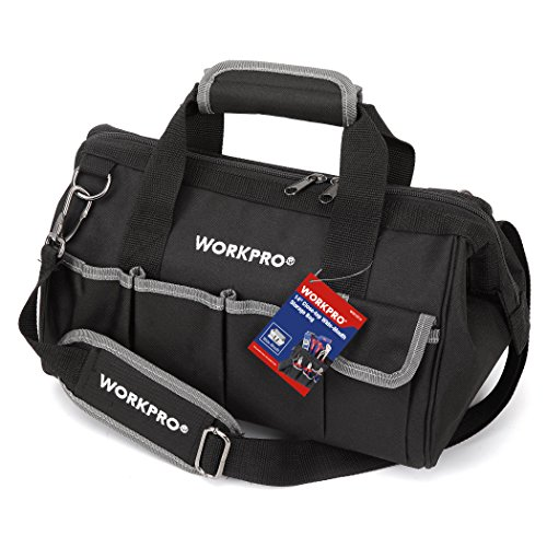 WORKPRO W081021A 14-inch Close Top Wide Mouth Tool Storage Bag with Water Proof Rubber Base