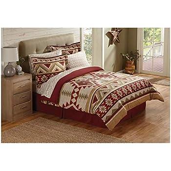 Amazon Com 6 Piece Tan Red Southwest Comforter Twin Set