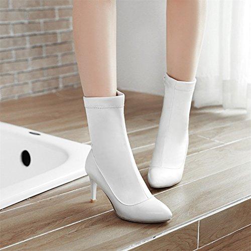 White ZQ della breve scarpe elegante di alti i l' scarpe tacchi con gran QXSuggerimento per e stivali e un settimana da versatile donna ammenda numero e rrBwq4f5Z