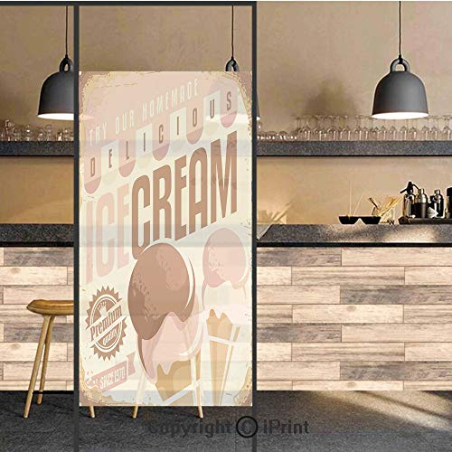 3D Decorative Privacy Window Films,Pop Art Style Nostalgic Homemade Ice Cream Emblem Graphic Decorative,No-Glue Self Static Cling Glass Film for Home Bedroom Bathroom Kitchen Office 24x48 Inch]()