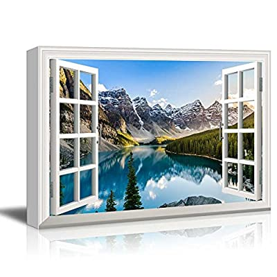 Window View Nature Landscape with Lake and Forest in Mountains, it is good, Charming Craft