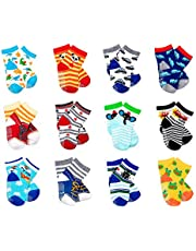 LGNTXDC 12 Pair Unisex Baby Anti-Slip Socks, 1 to 3 Years Old Toddler Infants Kids Sock Cute Design Curious, Dark Color Fun Pattern for 2T 3T