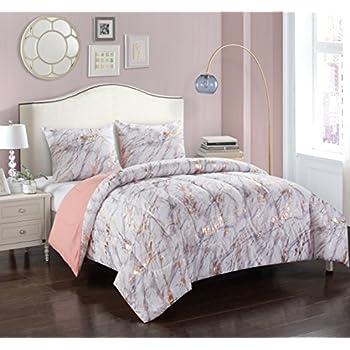 . Pop Shop Marble Comforter Set  Full Queen  Rose Gold