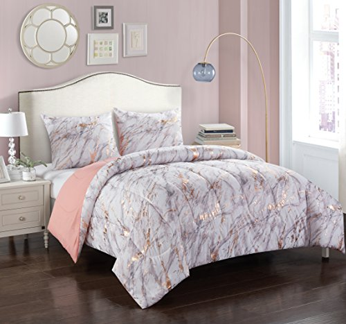 Pop Shop Marble Comforter Set, Full/Queen, Rose Gold ()