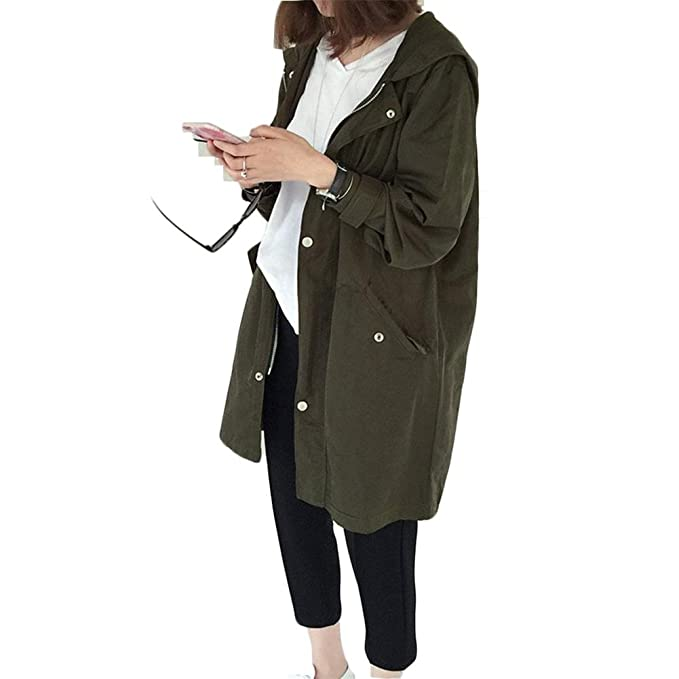 Jannyshop Abrigo de Mujer Moda Coreana Mujeres Primavera Otoño Abrigo Holgado Outer Ear Print Long Female Jacket Army Green: Amazon.es: Ropa y accesorios