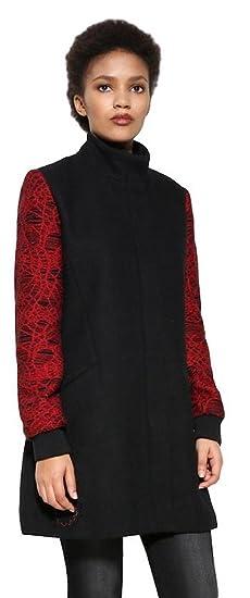 Desigual - Abrigo - para Mujer Negro Negro 44: Amazon.es: Ropa y accesorios