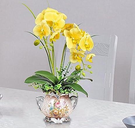 Amazon situmi artificial fake flowers modern style decoration situmi artificial fake flowers modern style decoration yellow orchid fake flower home accessories mightylinksfo