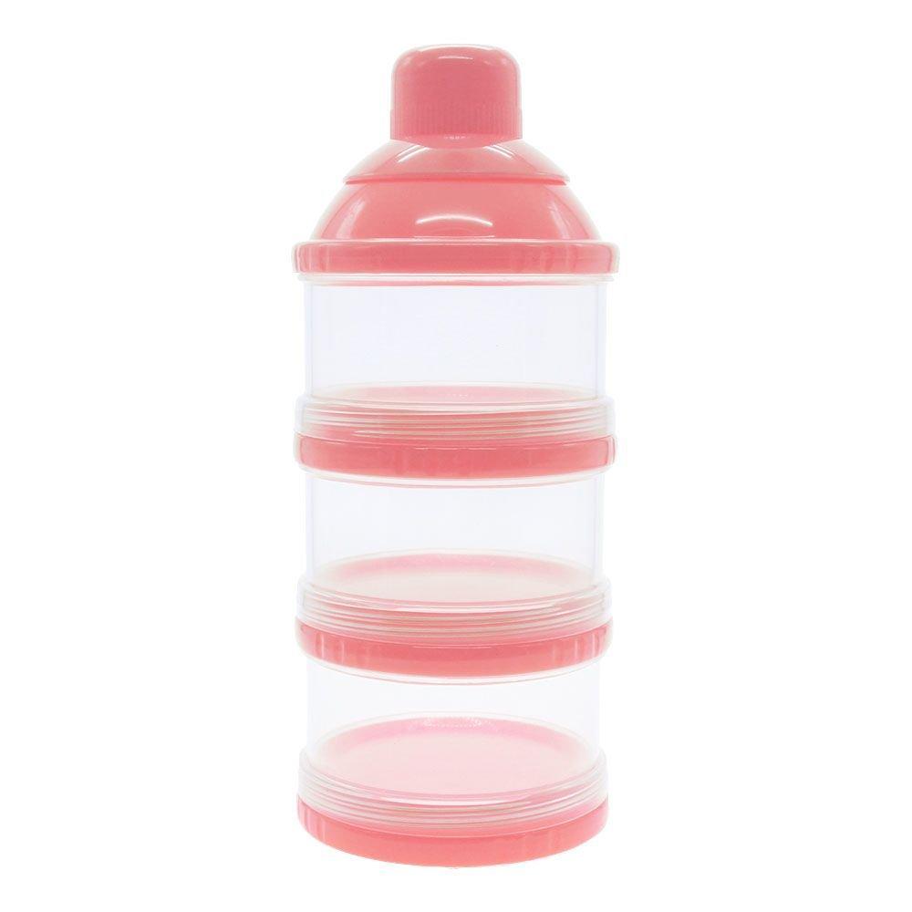 Vanker 3Couche pour bébé Nourriture Boîte de bouteille de lait en poudre Distributeur Conteneur support étui Rose
