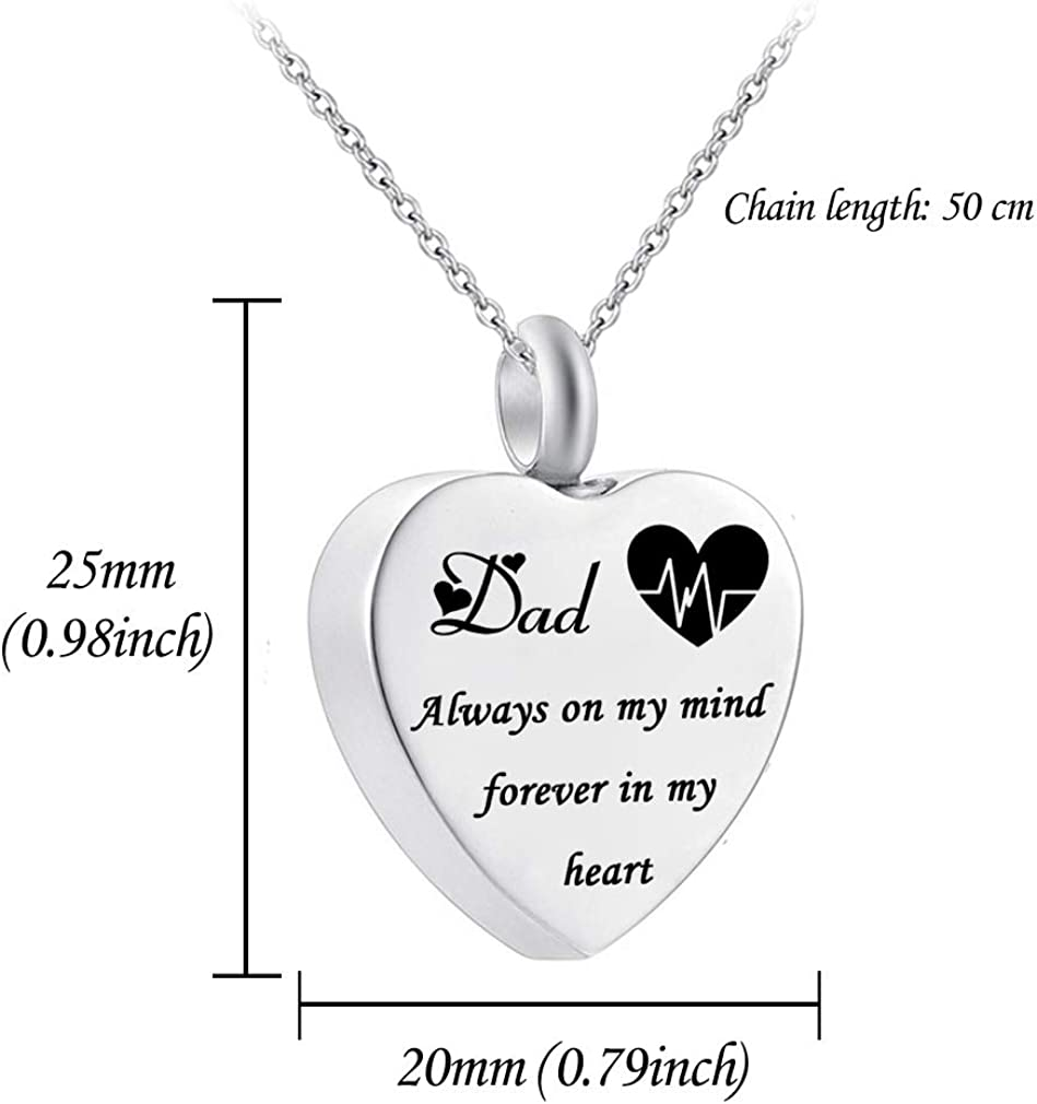 HQ Heart Urn Necklace for Ashes Always on My Mind Forever in My Heart Cremation Jewelry Memorial Ashes Keepsake Pendant Electrocardiogram Jewelry