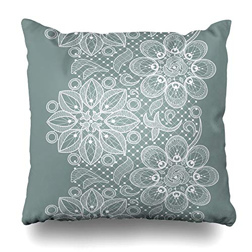 Ahawoso Throw Pillow Cover Ornamental White Old Lace Flowers Crochet Pattern Drawing Tissue Celebration Design Glamour Home Decor Pillowcase Square Size 20