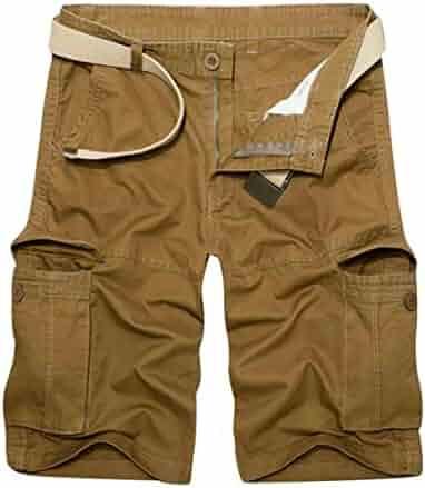fdb326351b Oberora-Men Stylish Multi Pockets Solid Color Slim Fit Cargo Shorts Pants