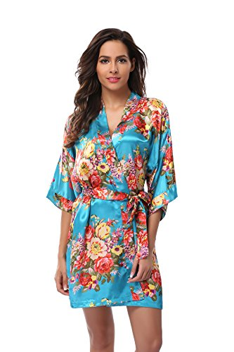 Women's Bridesmaid Robe Short Floral Wedding Kimono Robe Satin Floral Kimono Bathrobe for Bridal Wedding Party Blue M
